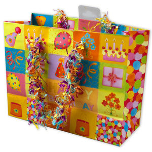 24  Pieces Per Pack Of  Small Happy Birthday Giftbag with Confetti Handles ][wholesales purchase|hoodmat.com