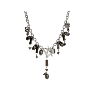 4 Pieces Per Pack Of Michele Caruso Black Metallic Bead And Heart Necklace ][Wholesales Purchase|Hoodmat.Com