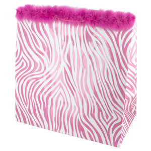 24  Pieces Per Pack Of  Large Pink Zebra Glitter Gift Bag ][wholesales purchase|hoodmat.com