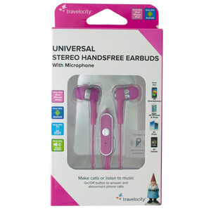 12 Pieces Per Pack Of Pink Travelocity Universal Stereo Handsfree Earbuds ][Wholesales Purchase|Hoodmat.Com