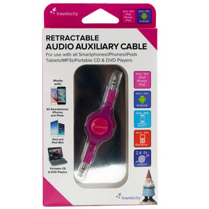 24 Pieces Per Pack Of Travelocity Pink Retractable Audio Auxiliary Cable ][Wholesales Purchase|Hoodmat.Com