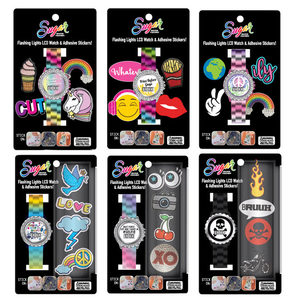12 Pieces Per Pack Of Sugar Flashing Lights Lcd Watch &Amp; Adhesive Stickers Set ][Wholesales Purchase   Hoodmat.Com