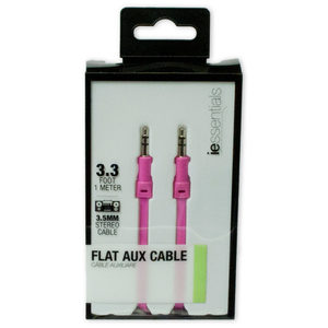 24 Pieces Per Pack Of Iessentials Pink Flat Aux Cable 1 Meter ][Wholesales Purchase|Hoodmat.Com