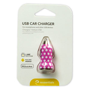 12 Pieces Per Pack Of Iessentials Pink And White Polka Dot Usb Car Charger ][Wholesales Purchase|Hoodmat.Com