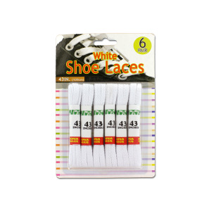 24 Pieces Per Pack Of White Shoe Laces ][wholesales purchase|hoodmat.com