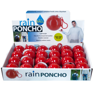24 Pieces Per Pack Of Rain Poncho in a Ball Countertop Display ][wholesales purchase|hoodmat.com