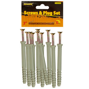 """24 Pieces Per Pack Of 3"""" Screws with Ribbed Plastic Anchors Set ][wholesales purchase