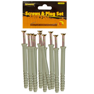 """24 Pieces Per Pack Of 4"""" Screws with Ribbed Plastic Anchors Set ][wholesales purchase