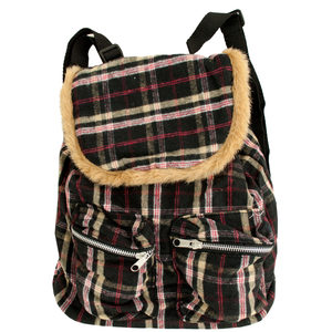 2 Pieces Per Pack Of Black & Red Plaid Messenger Backpack with Faux Fur Trim ][wholesales purchase|hoodmat.com