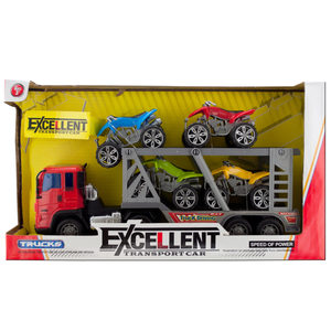2 Pieces Per Pack Of Friction Powered Double Trailer Truck With Atvs Set ][Wholesales Purchase   Hoodmat.Com