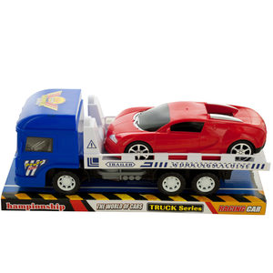 4 Pieces Per Pack Of Friction Trailer Truck With Race Car Set ][Wholesales Purchase   Hoodmat.Com