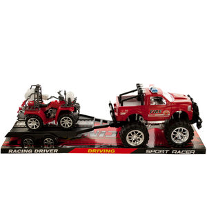 2 Pieces Per Pack Of Friction Powered Fire Rescue Trailer Truck With Atv ][Wholesales Purchase   Hoodmat.Com
