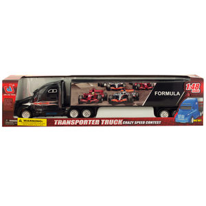 2 Pieces Per Pack Of Friction Powered Trailer Truck With Race Car Decals ][Wholesales Purchase   Hoodmat.Com