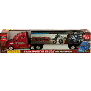 2 Pieces Per Pack Of Friction Powered Trailer Truck With Motorcycle Decals ][Wholesales Purchase   Hoodmat.Com