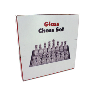 GLASS CHESS SET 25X25CM