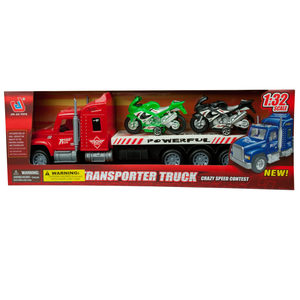 1 Pieces Per Pack Of Friction-Powered Semi-Truck With Motorcycles Set ][Wholesales Purchase   Hoodmat.Com