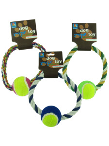 "7"" Rope dog toy with tennis ball (assorted colors)"
