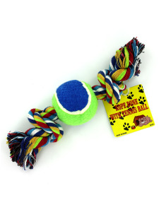 Rope bone dog toy with tennis ball