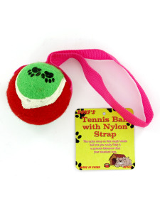 Tennis ball dog toy with nylon strap