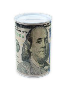 100 dollar bill tin money bank