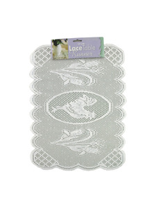 Rooster lace table runner