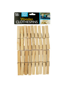 18 Pack large wooden clothespins