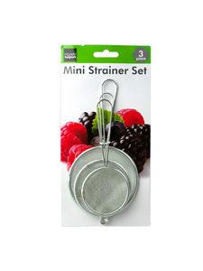 Set of three mini strainers