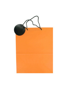 orange with black tag gift bag