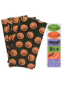 5 pack pumpkin lunch sacks with 1 sheet of stickers