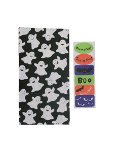 5 pack ghost lunch sacks with 1 sheet of stickers