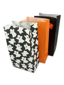 12 pack ghost lunch sacks with 2 sheets of stickers