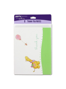 nursery parade 8 count thank you note cards/envelopes