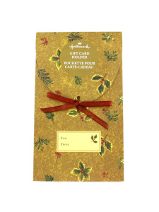 xmas holly gift card holder