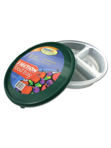 Three-section food tray (assorted colors)