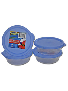 Set of four round plastic containers