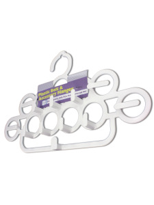 Plastic belt and accessory hanger
