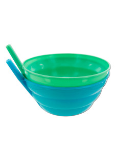 Bowls with built-in sipper straw