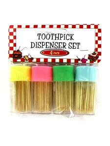 Pastel toothpick dispenser set (set of 4)
