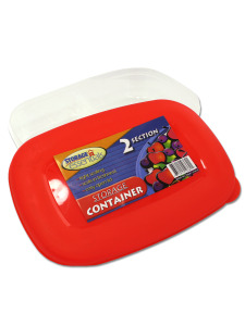 Two-section storage container with lid