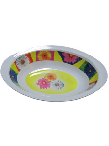 Oval bowl with bold floral design
