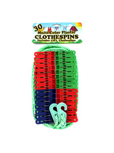 30 Pack multi-color plastic clothespins