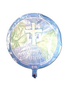happy christening blue metallic balloon