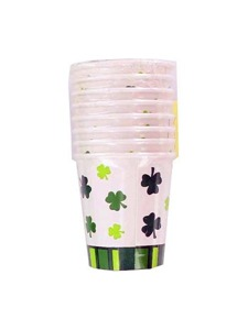 cups 8 pk hot / cold 7 oz stripes & clovers