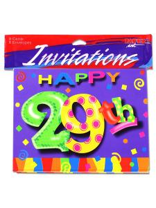 29th birthday invitation 8pk.