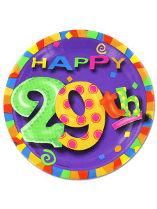 29th birthday party plates, 8pk