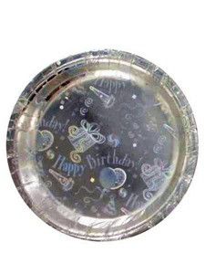 silver bithday party plate