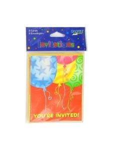 festive balloons 8 pack invitations/envelopes