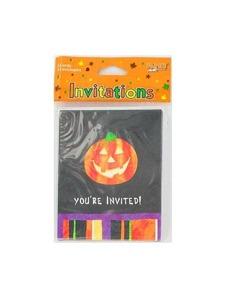 invites 8 pk pumpkin/stripes