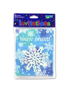 invitations 8 pk snowflake