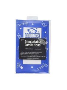 imprintable invitations 10 per pack 8 1/2 in x 5 1/2 in blue
